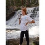 Powerful-U_White_Retro-Evolve-Tshirt_Model-by-waterfall-with-bottle